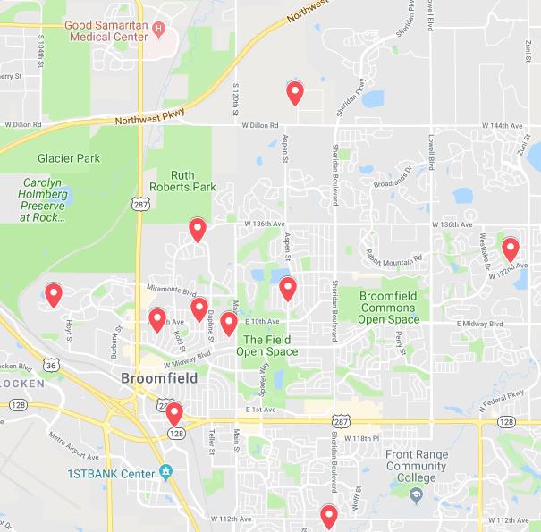 Locations Aqua Care Solar has serviced in Broomfield