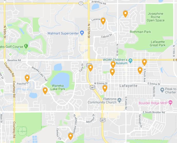 Locations Aqua Care Solar has serviced in Lafayette
