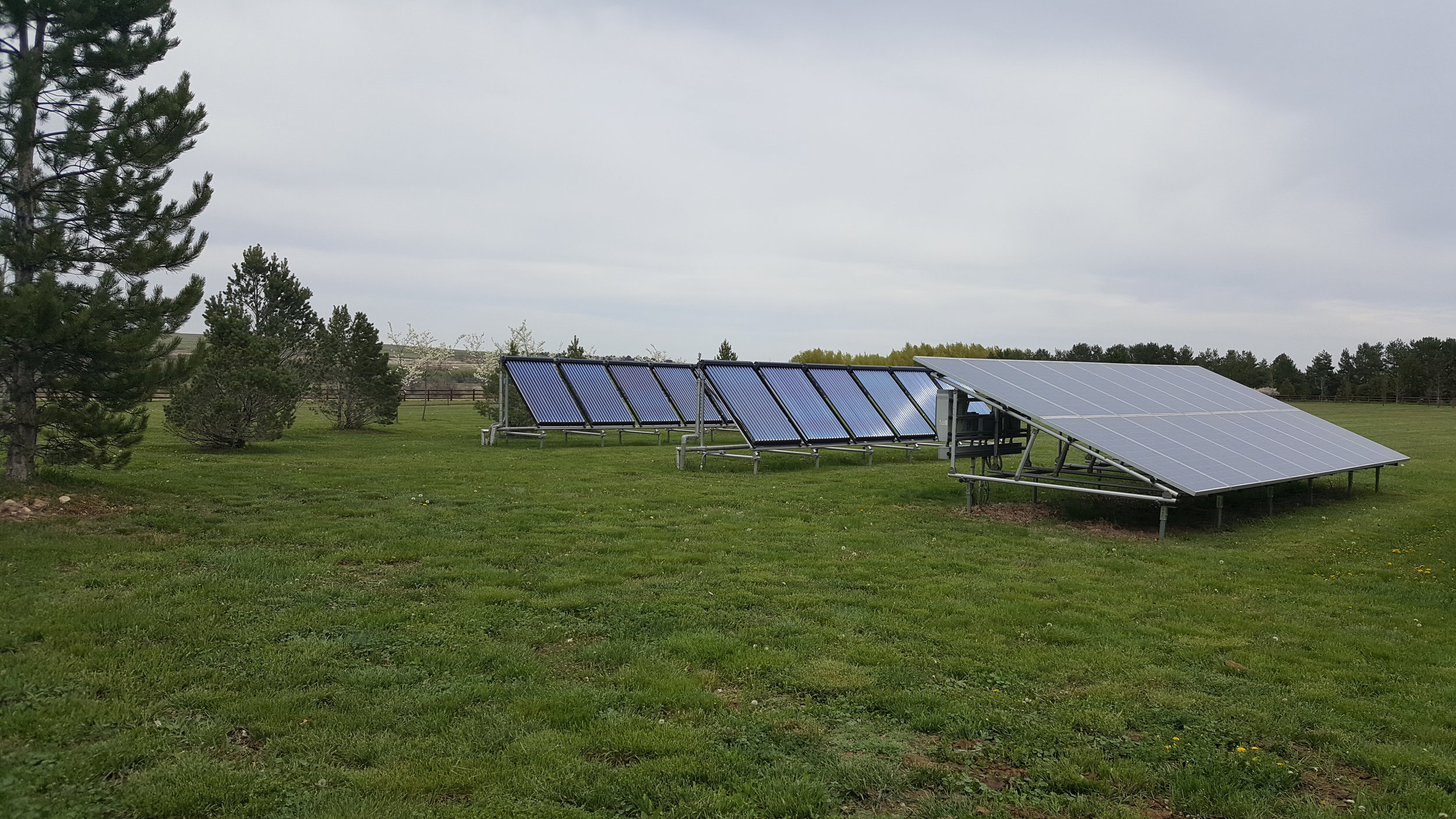 Ground mounted solar thermal system in Boulder, Colorado