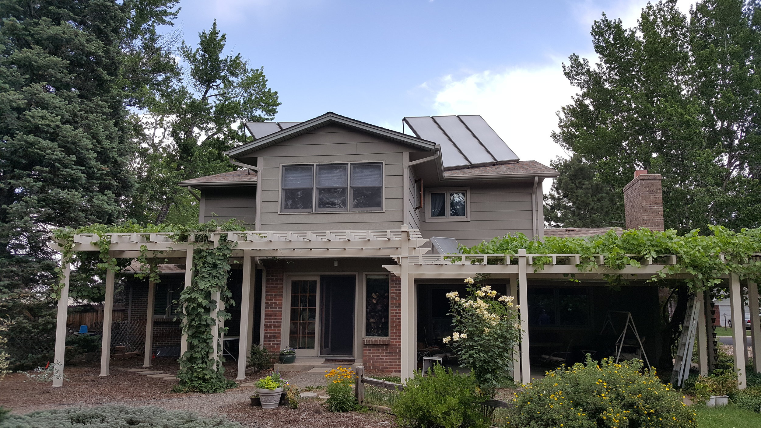 Six tilt up solar hot water panels in Aurora, Colorado