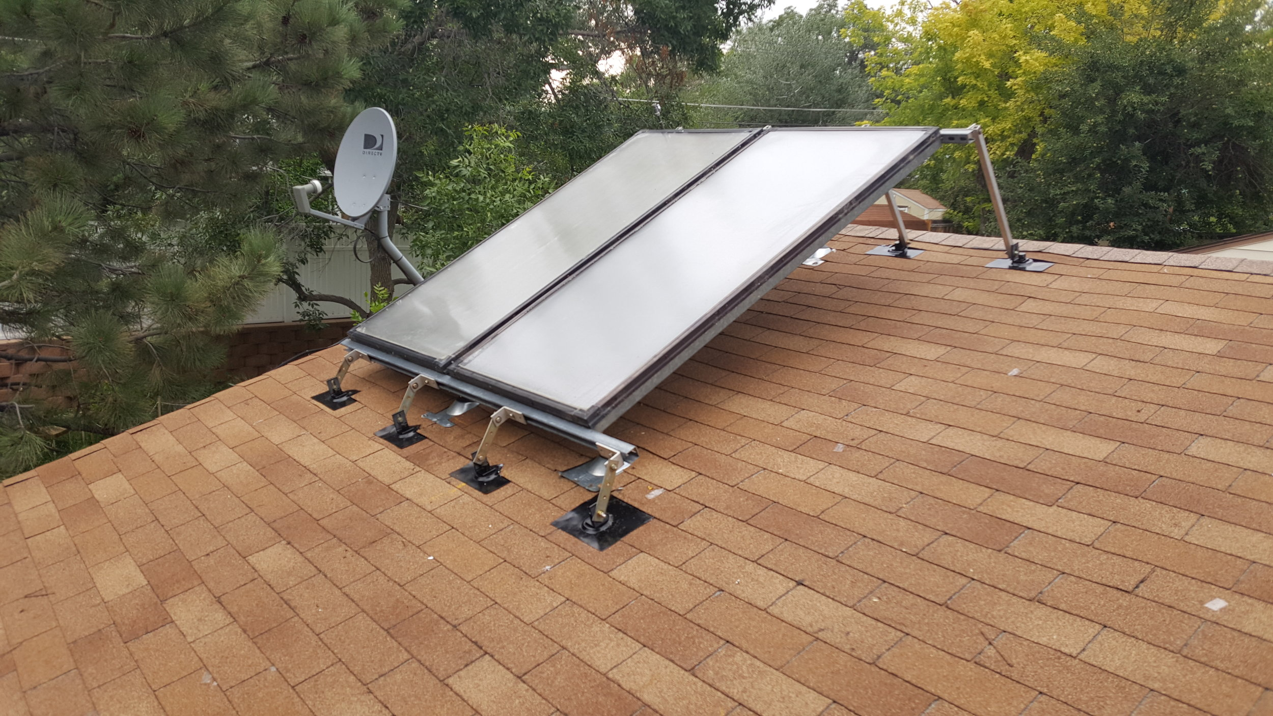 Two solar hot water panels in Broomfield, Colorado