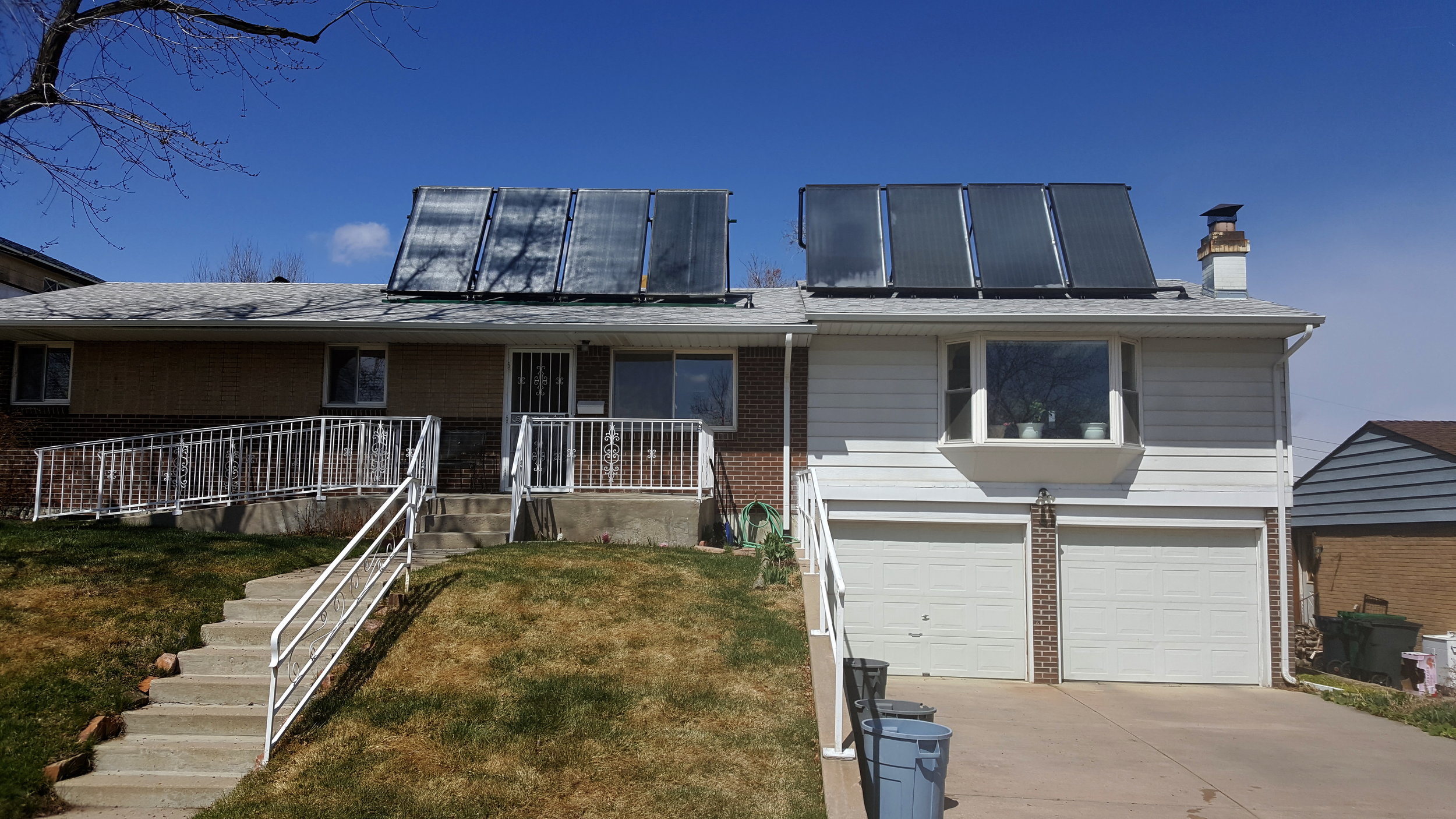 Eight panel tilt up solar hot water system in Denver, Colorado