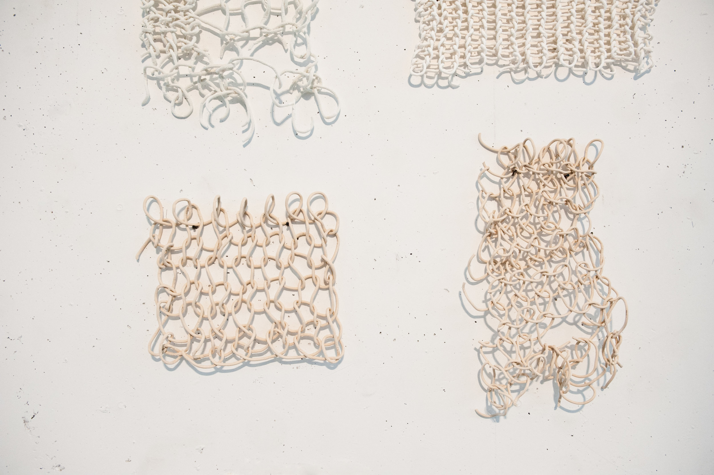 Disrupted systems , knitted porcelain, earthenware, 2011. Photo: Claudia Corrent