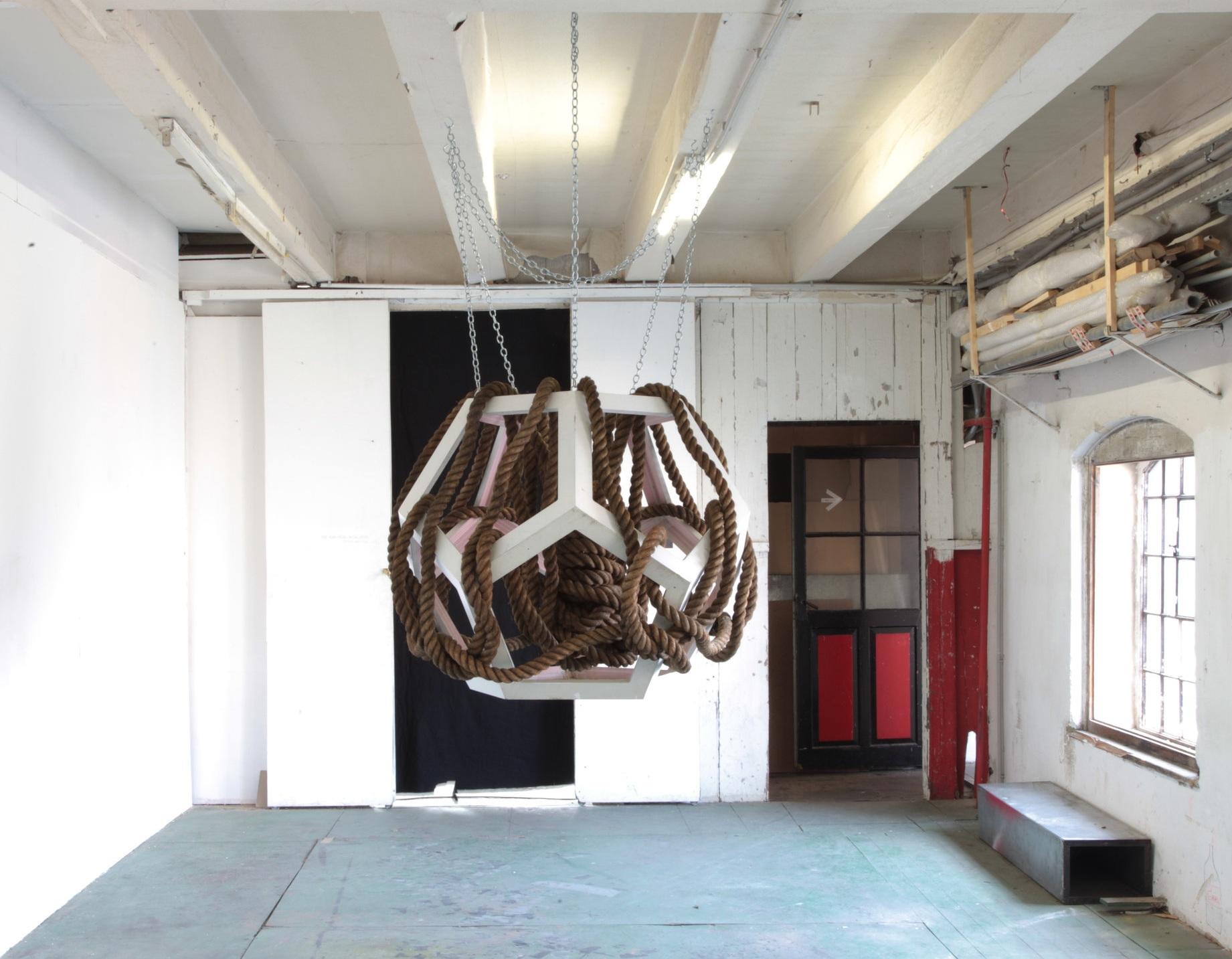 Quellenabschiedsskulptur,  rope, wood, metal, ⌀120 cm, 2012