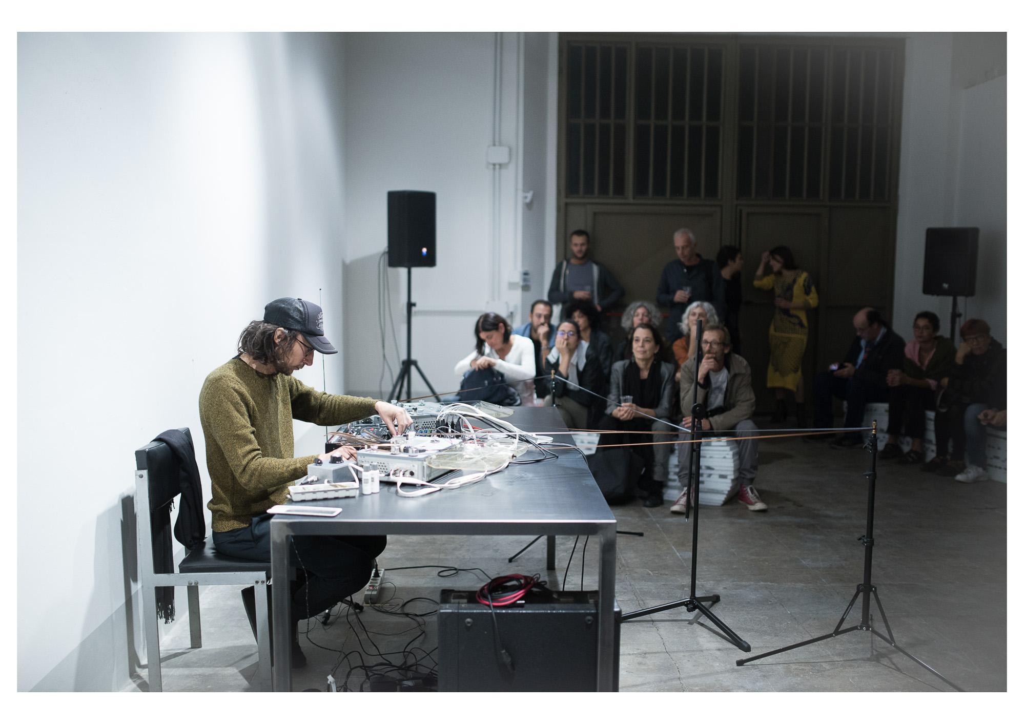 Performance by sound artist Giovanni Lami. Photo: Rachele Salvioli