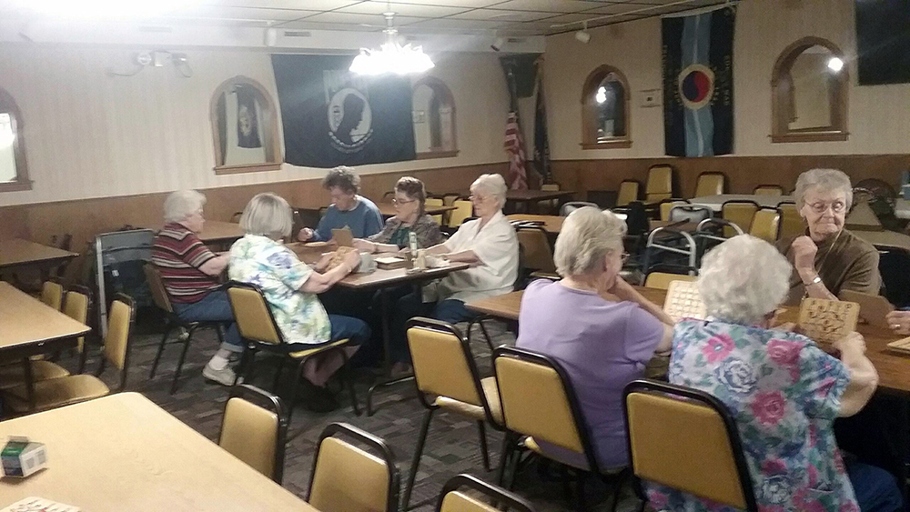 Playing bingo at Wymore Senior Center