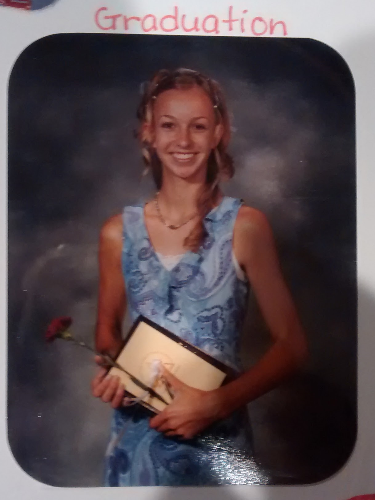 """BCCS 8th Grade Graduation. Class of2003. A little too much purple paisley in this picture. And  way too much """"Awkward."""""""