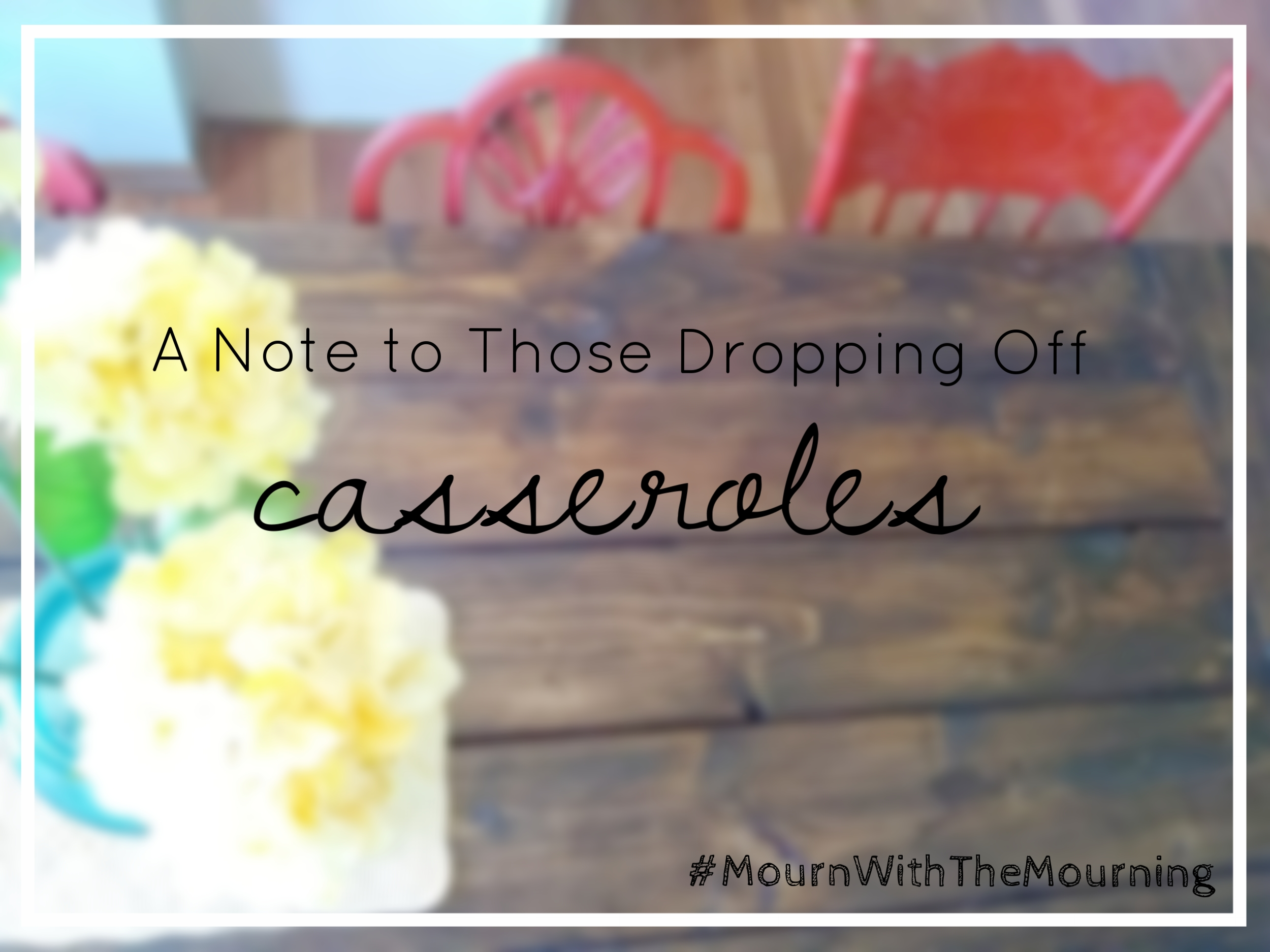 {This week's series is meant to encourage those walking alongside friends grieving the loss of a loved one. Two and a half years ago   our baby was stillborn ,  and we were deeply touched by those who did the hard work of showing up.  Follow along on   social media   throughout the rest of the week for more encouragement and advice. #MournWithTheMourning}