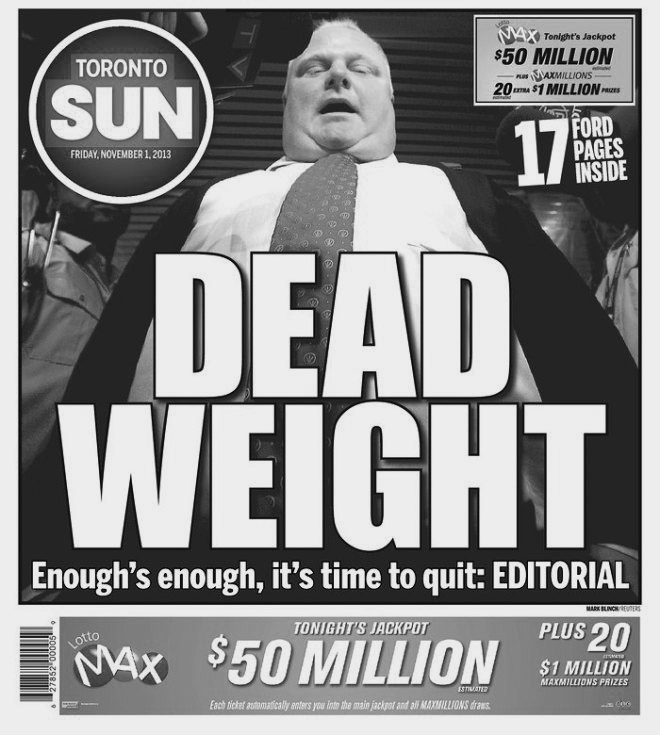 The Toronto Sun grows tired of Rob Ford, 2013.