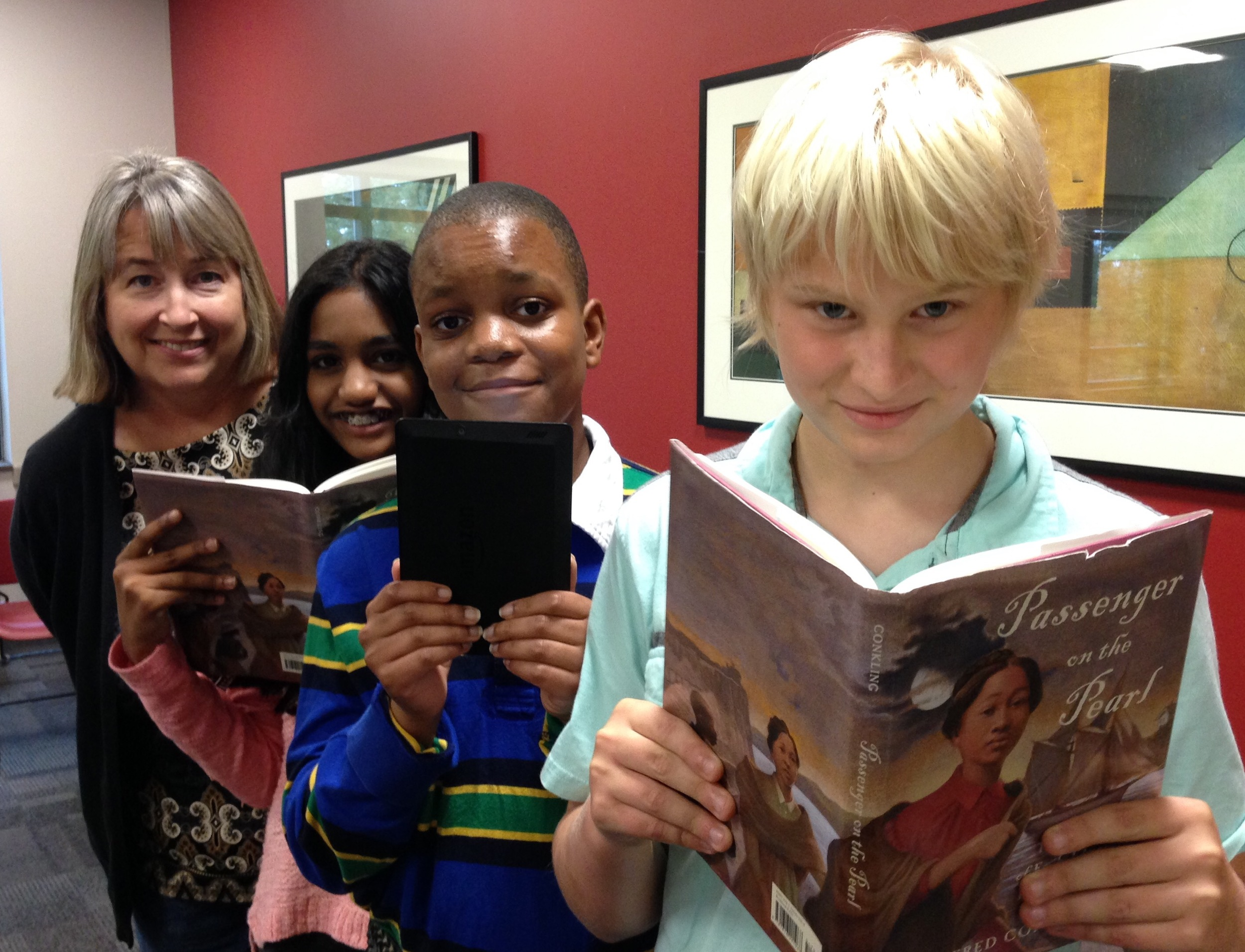 Kendall, Vibha, and Gareth with author Winifred Conkling