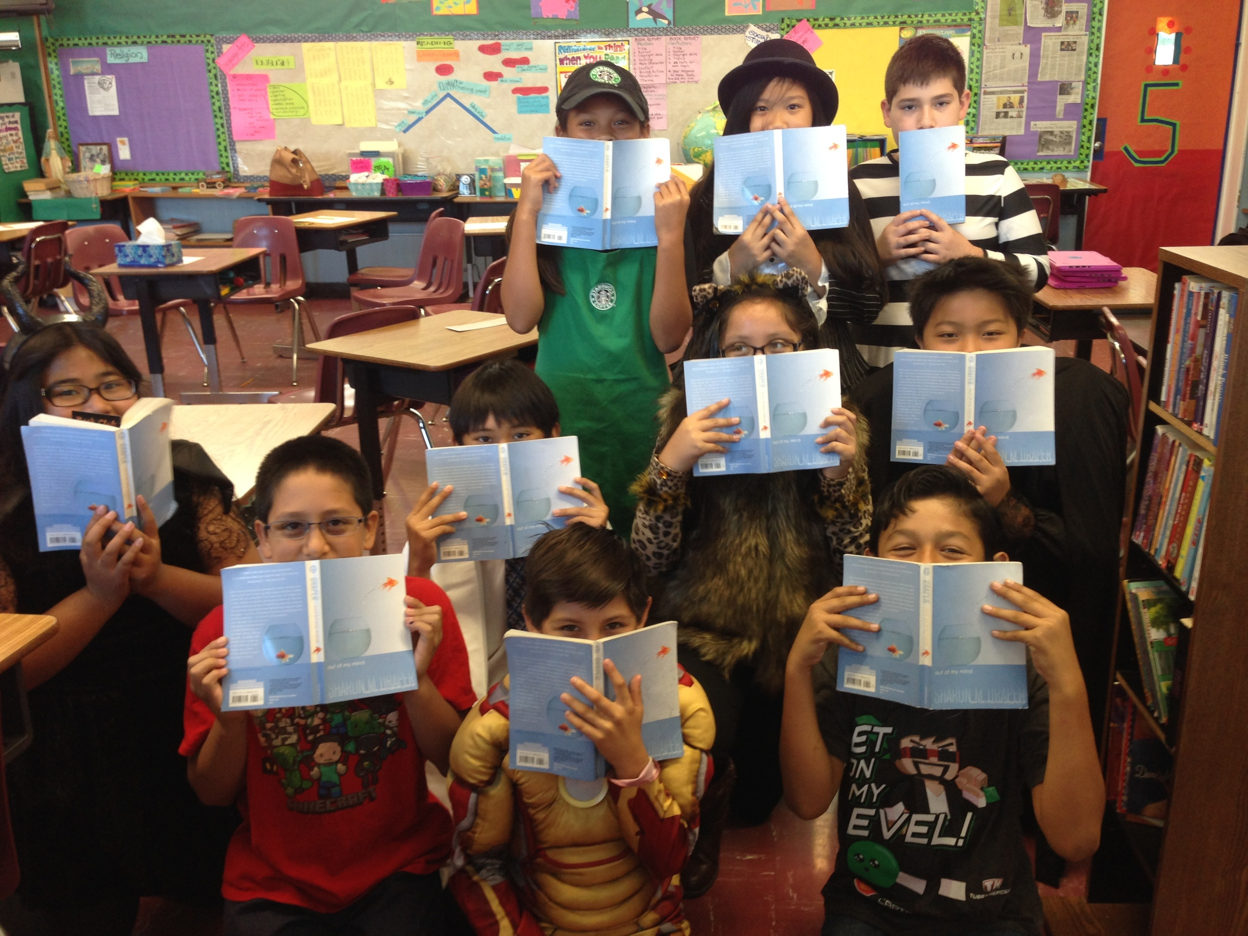 Fifth grade readers at St. Lucy Catholic School in Long Beach, California: : Grace, Giovanni, Vincent, Xavier, Alana, Zeus, Ethan, Eliyah, Samantha, and Zachary.