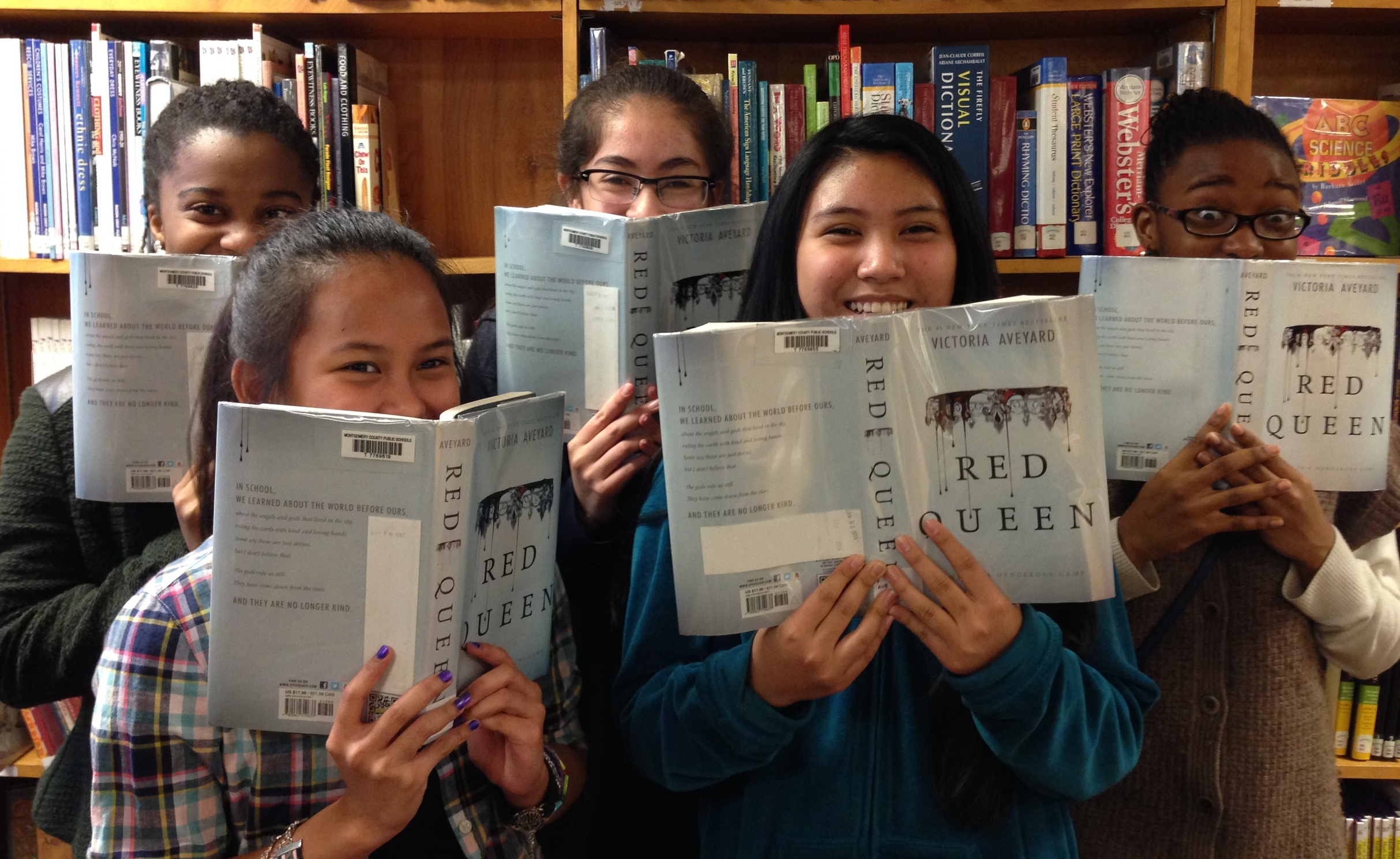 "Leandra, Paula, Marianne, Rio, and Gabby, 7th graders at Newport Mill Middle School, are big ""Red Queen"" fans."