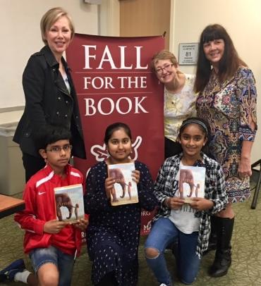 Fall for the Book 2017 - top row: Holly Vagley, Kitty Felde, Linda Oatman High; bottom row:Akshaj, Ishnoor, and Medha (photo courtesy of Holly Vagley)