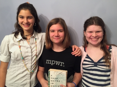 Our DC trio of readers: Camelia, Emily, and Madeline, members of the AU Park Mother Daughter Bookclub (est. 2009 aka Kindergarten!)