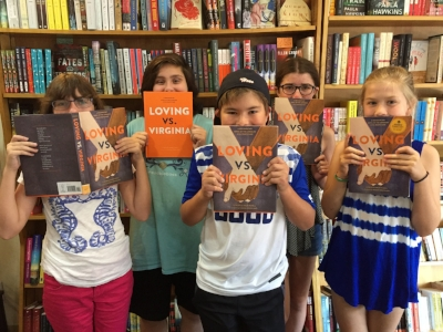 Leah, Abigail, Serena, and Claire and Robert at Alexandria's Hooray for Books!
