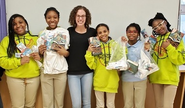 Saniah, Amaeya, Vinchenza, Mariah, and Quan'Nairer from  Hazelwood Elementary/Middle School  in Baltimore are members of the  Girlfriends Book Club  (photo by  Tonya Wright )
