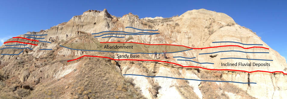 Cross-section and interpretationthrough a fluvial deposit in Dinosaur Provincial Park