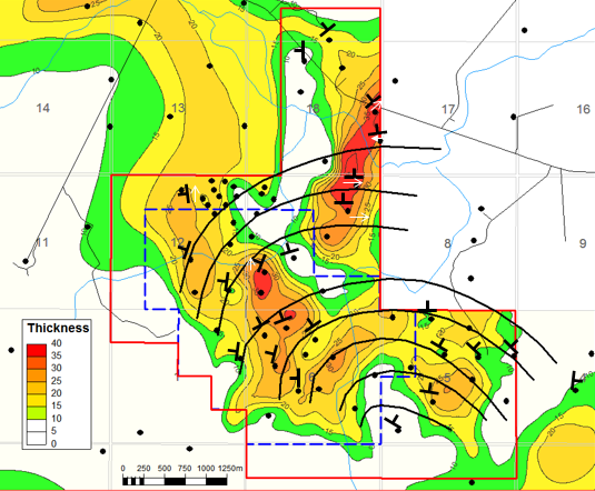 Figure7Map of sand thickness with dip orientations from a sample area. From Findlay et al. 2014