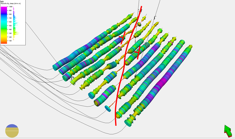 Figure10MWD Resistivity profiles from 10 horizontal wells with annotated dip direction. From Findlay et al. 2014