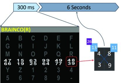 Figure was taken from the publication Borgheai et al., 2019. It shows the experimental design used for the selection of one letter in the speller created by the group. By using the matrix design the group severely cut down on the required time to choose one character.