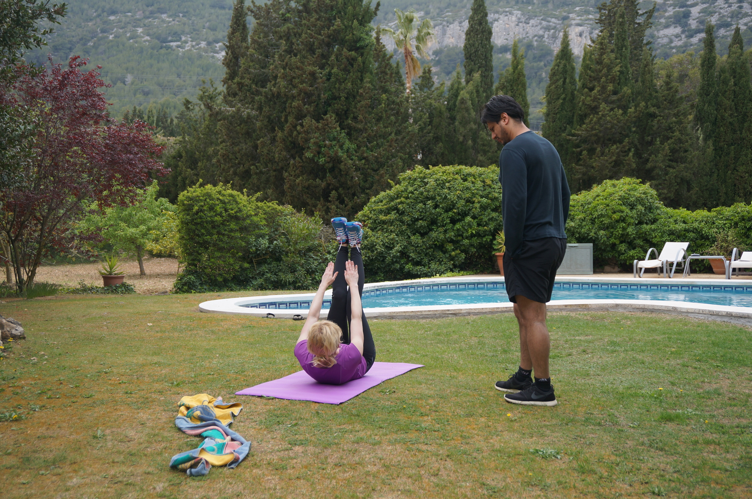 Personal training by the pool.