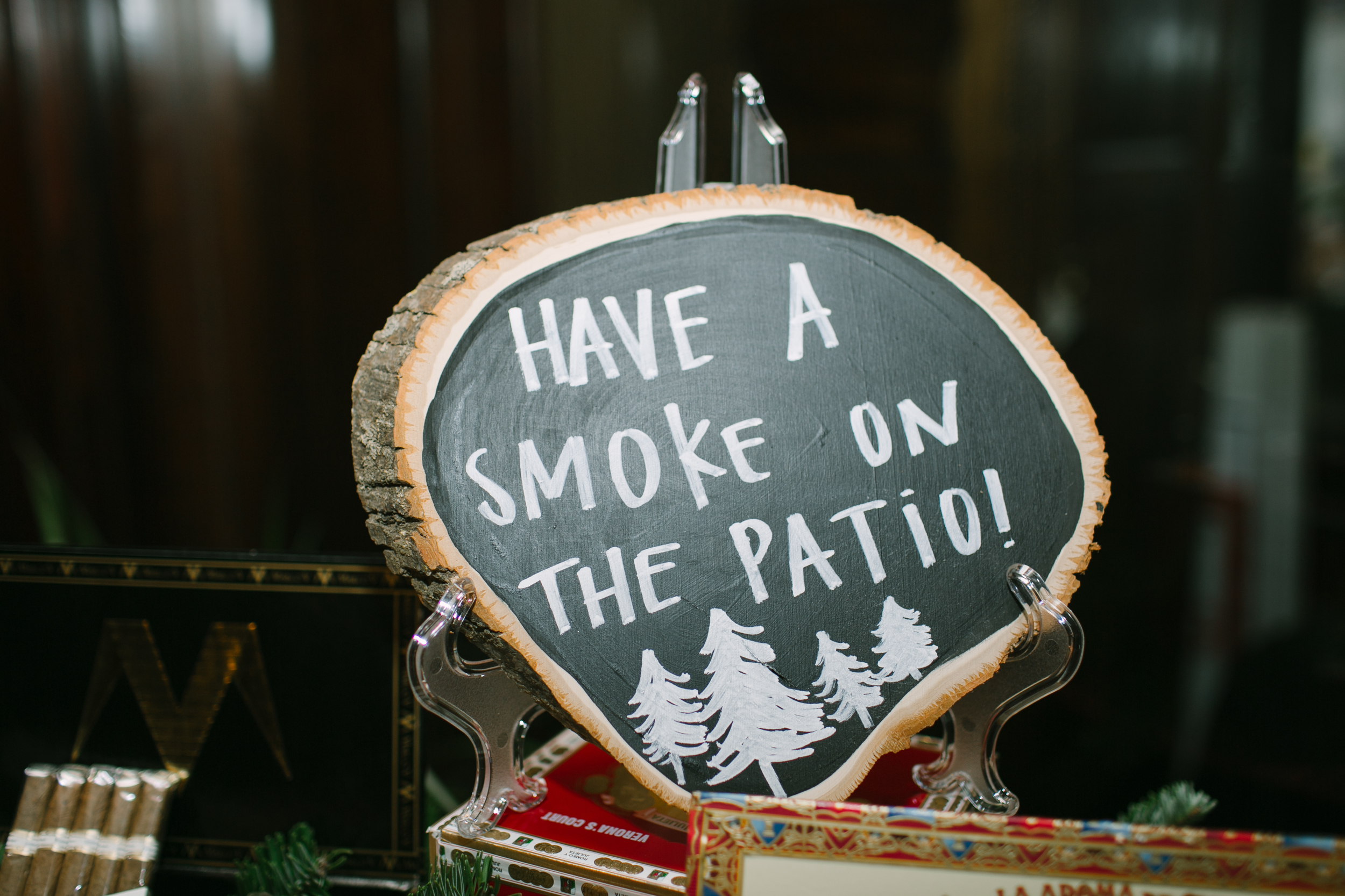 A non-traditional northwoods cabin themed wedding with a cigar bar |Belle Noelle Events + Design