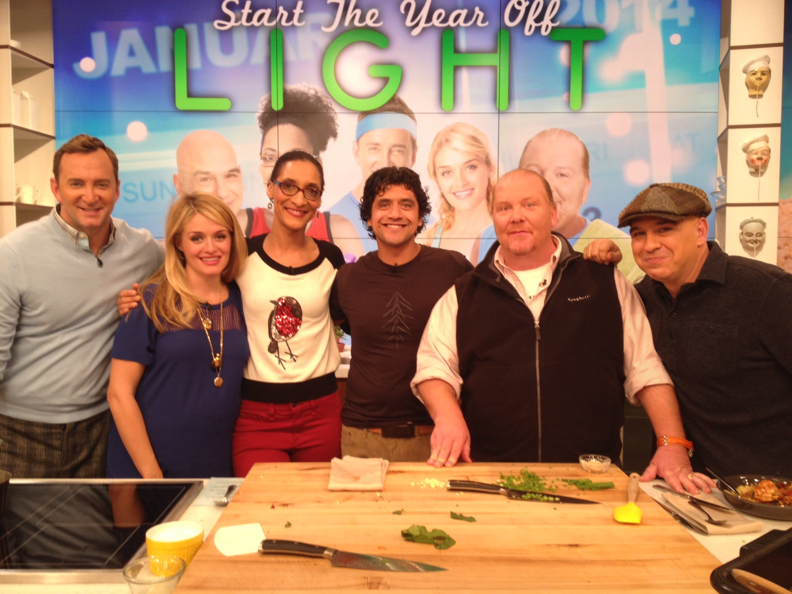 Chef Eduardo cooking it up with Mario Batali on the 'The Chew'.