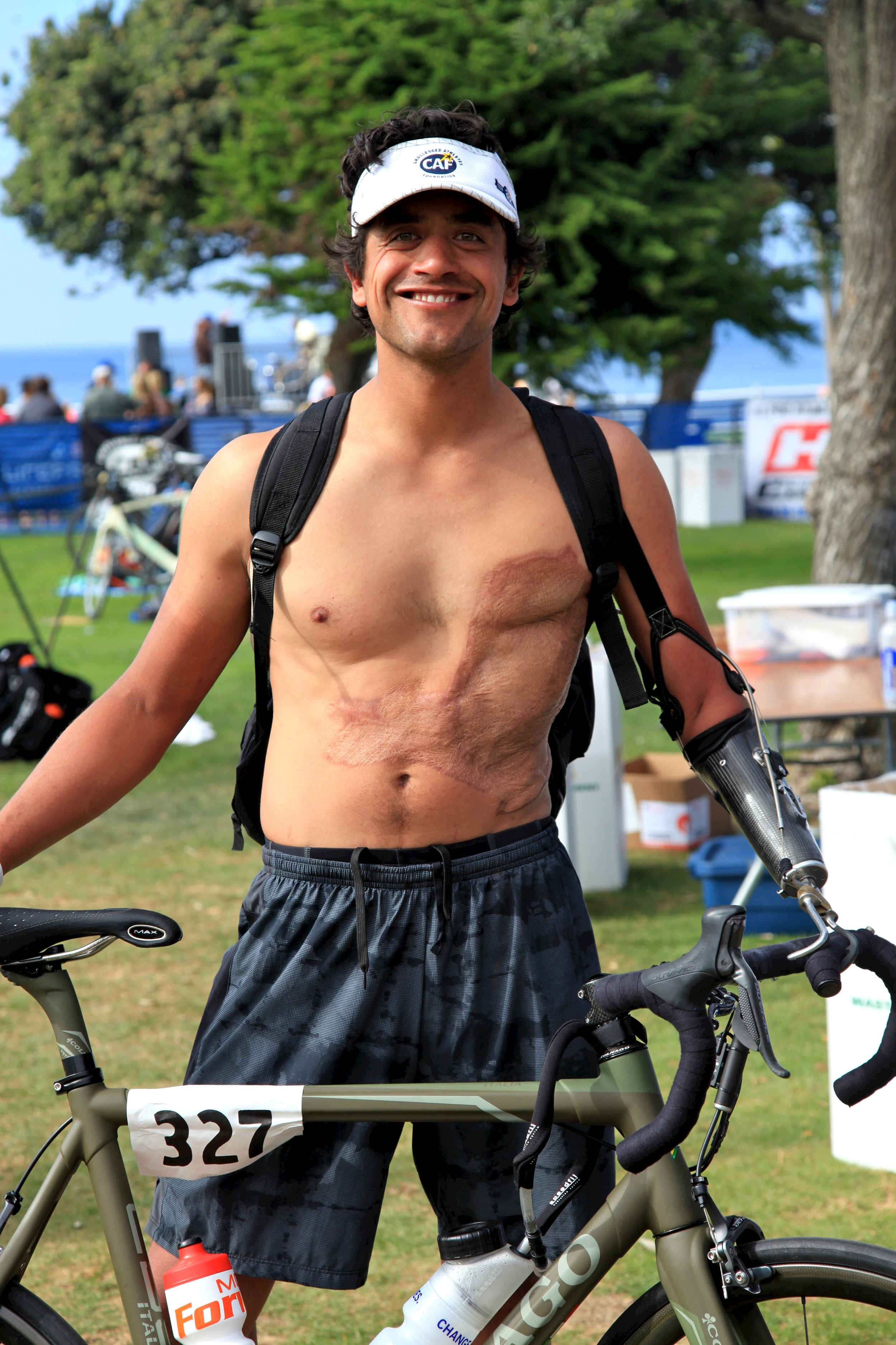 A happy Eduardo after representing the Challenged Athletes Foundation in his first triathlon event!