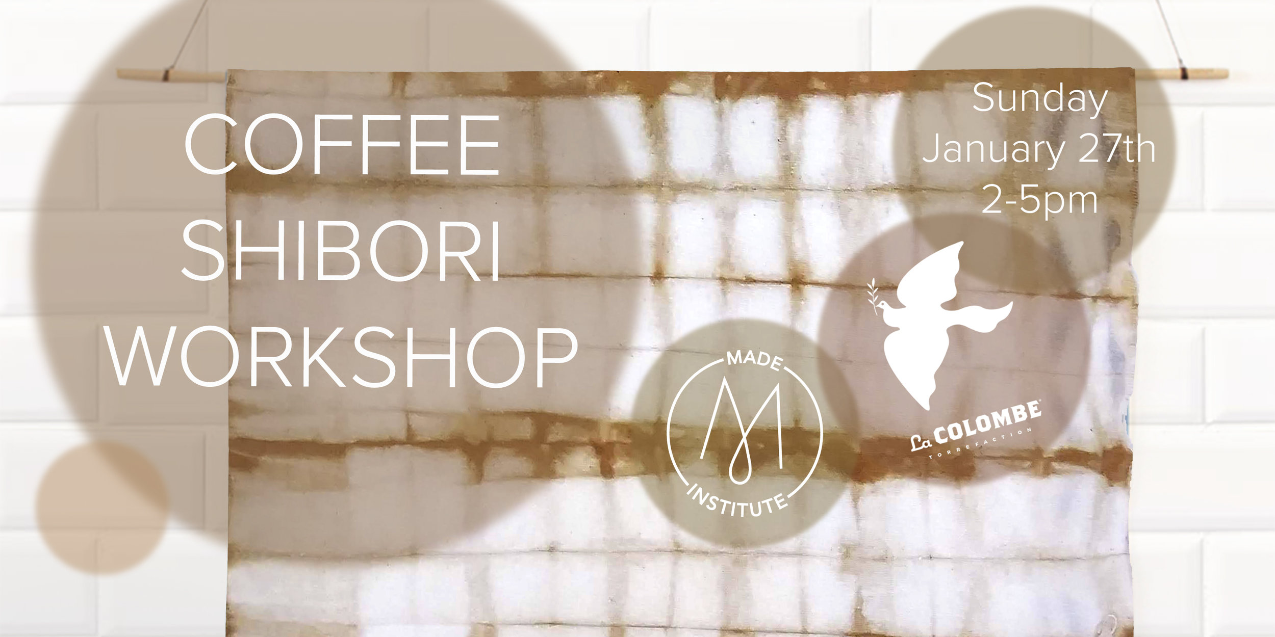 Learn the Japanese art of Shibori Dyeing with Eco-friendly coffee dye. Join us at La Colombe Fishtown for our first coffee collab and bring home a beautiful scarf designed and dyed by you! Coffee and Pastries included!