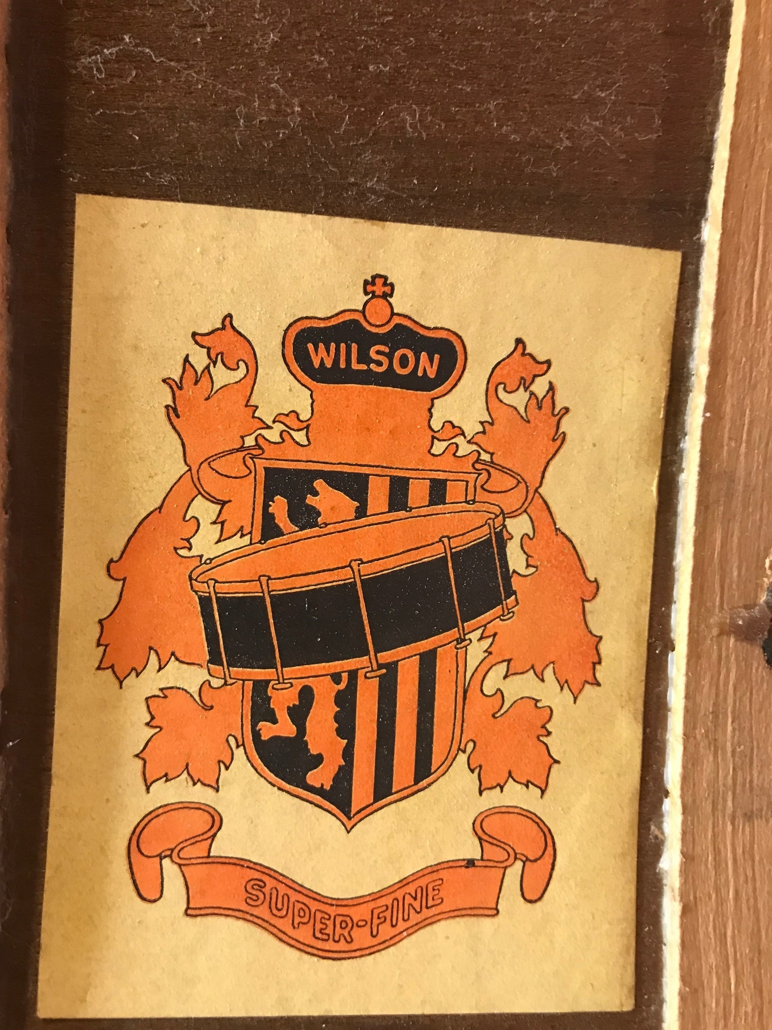 "Wilson Brothers 28"" Bass Drum: wilson badge"