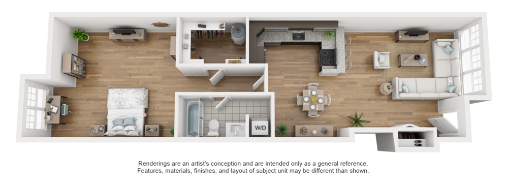 A sample configuration of our beautiful newly-renovated one bedroom apartments