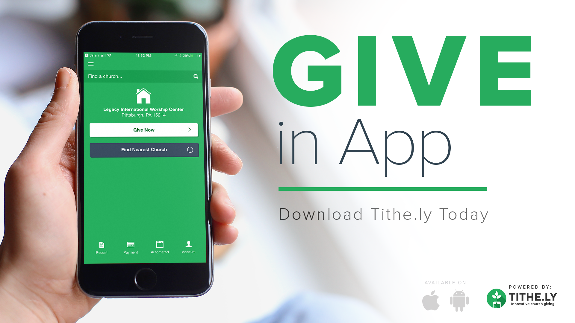 MOBILE GIVING -  Give right from your phone with the Tithe.ly app. It's free, it's secure and easy to setup in 4 simple steps:1. Download the app2. Search