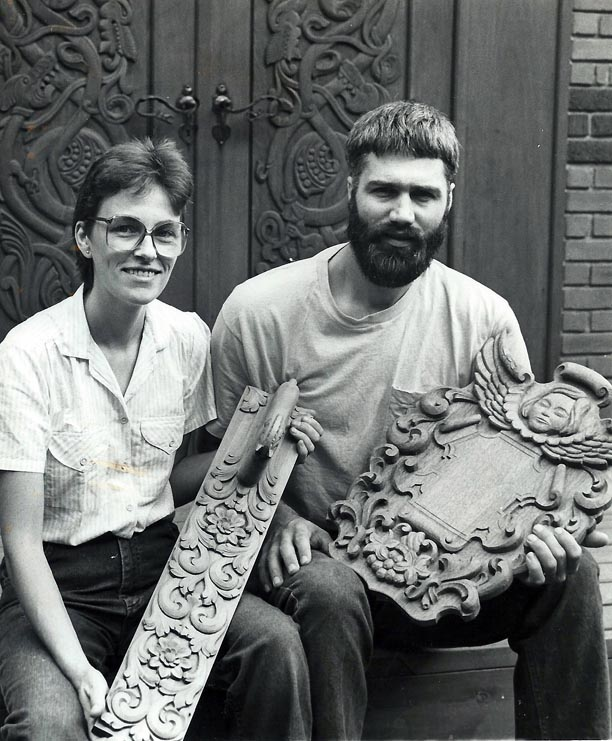 Phillip and Else in 1980, shortly after starting Norsk Wood Works in Barronett, WI