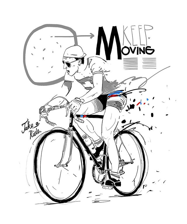 Keep moving. #roadbike #cycling #cyclist #sketch #drawing #bicycle #bicycleporn #sports #sportmotivation #movie #illustration #vandata #ink #racebike