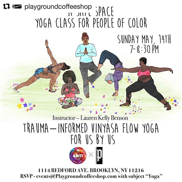 "Check out my illustration and this awesome event with my friends at Playground Coffee Shop!  RSVP asap! #Repost @playgroundcoffeeshop ・・・ In two weeks we are hosting our first ever Yoga Class for WOC with the very amazing @aditiflow! If interested email events@playgroundcoffeeshop.com with subject ""yoga."" Space is limited to 25 people, sign up while you can! #yoga #community #bedstuy (illustration by @happynotmad l, flyer by @satanlovesray)"