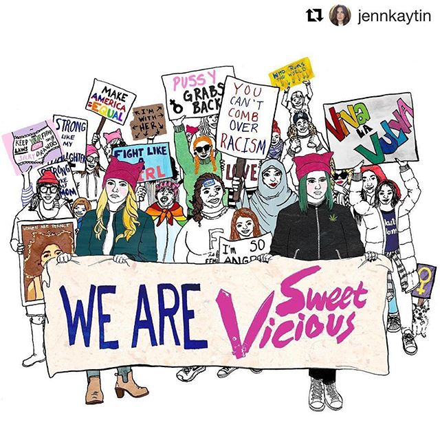 I loved creating this #girlpower illustration. If you haven't watched the MTV show sweet vicious you should stop what you're doing and fix that. #Repost @jennkaytin ・・・ The loving community of people that have come together in support of #SweetVicious makes me want to cry and smile and hug everyone. It makes me feel that despite all this shit we're inundated with daily there's still so much good and so much hope. This incredible drawing by @happynotmad (commissioned by my incredible, feminist, powerhouse cousin @grlevy) makes my heart feel like it's going to explode. Thank you all for fighting for this show. I LOVE YOU. #RenewSweetVicious #illustration #nastywomen #sweetvicious #drawingaday #freelanceillustration