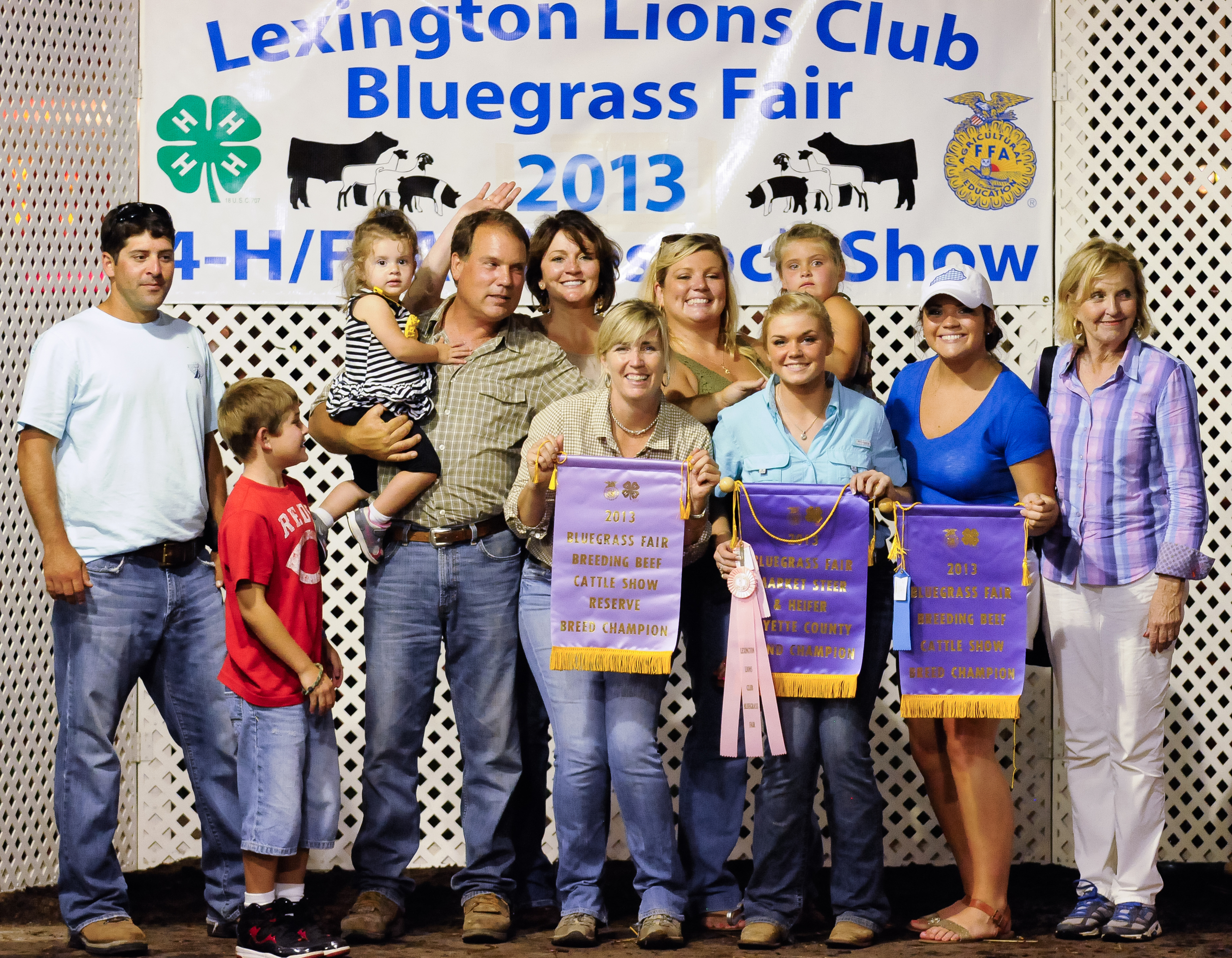 Fayette County Fair.  From Left to Right: Chris Pennington, Blake Pennington, Brooke Pennington, Ed Chenault, Becky Chenault, Susan Chenault Hurt, Christina Chenault Pennington, Katie Hurt, BelLa Pennington, Samantha Chenault, and Sue ChenaulT (Bill Hurt Took the picture).