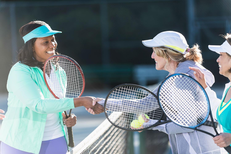 Tennis playing