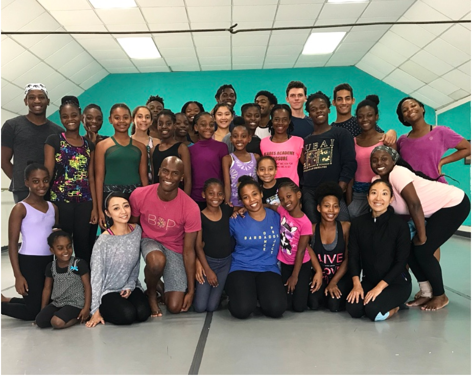 (front center) Jamal Callender, Courtenay Thorne and Stefanie Takei Taylor (front row right) with BDP students August, 2018)