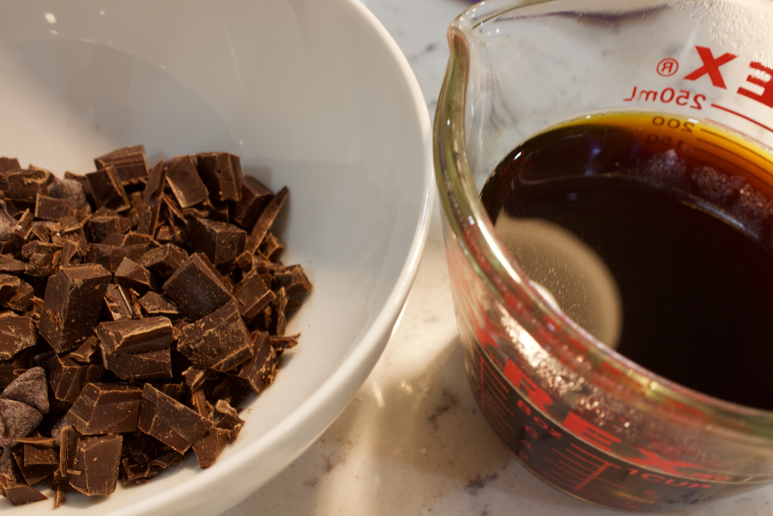 2. Chop chocolate and brew hot cup of coffee