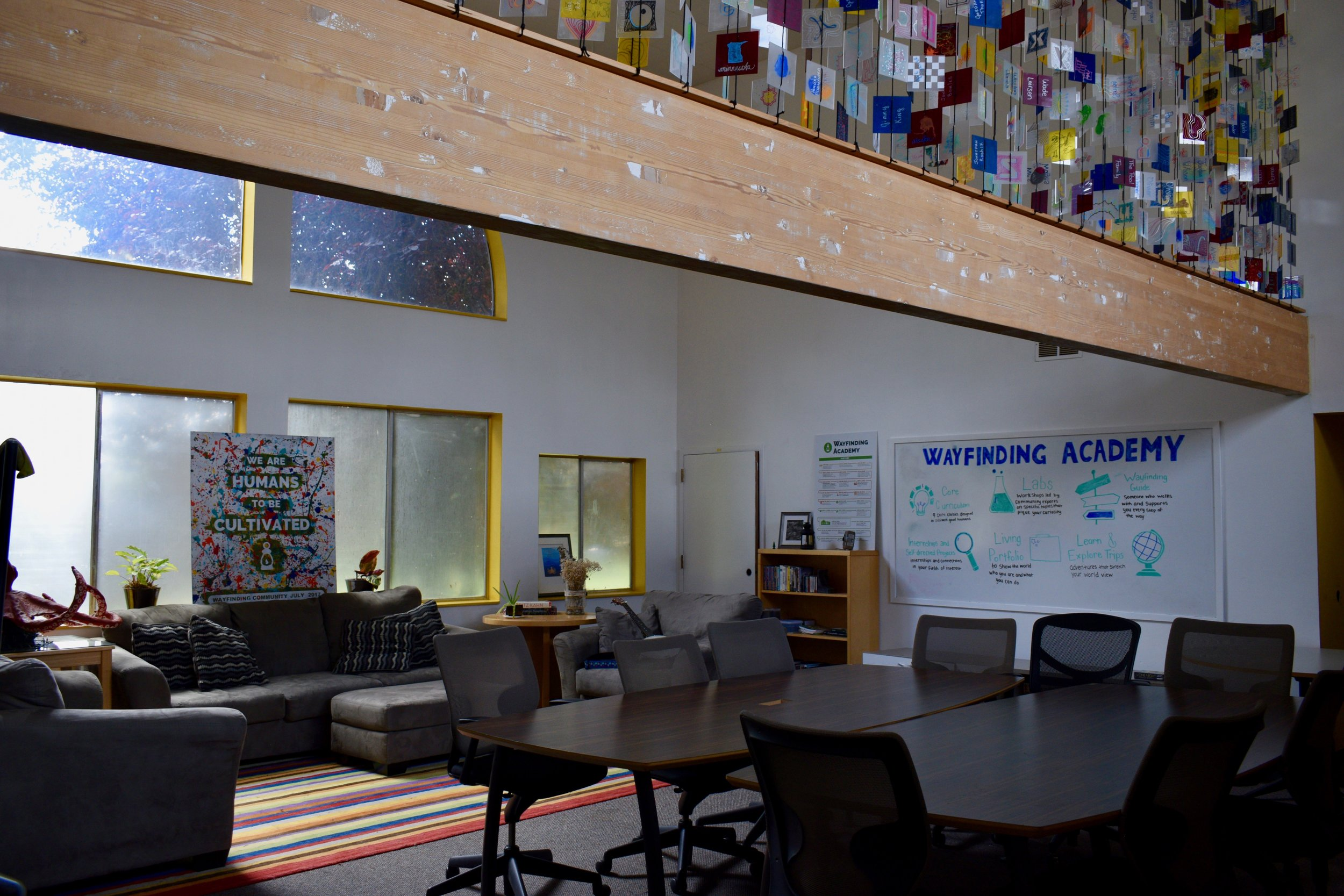 """The Commons - our """"living room"""" and library and community hang out room."""