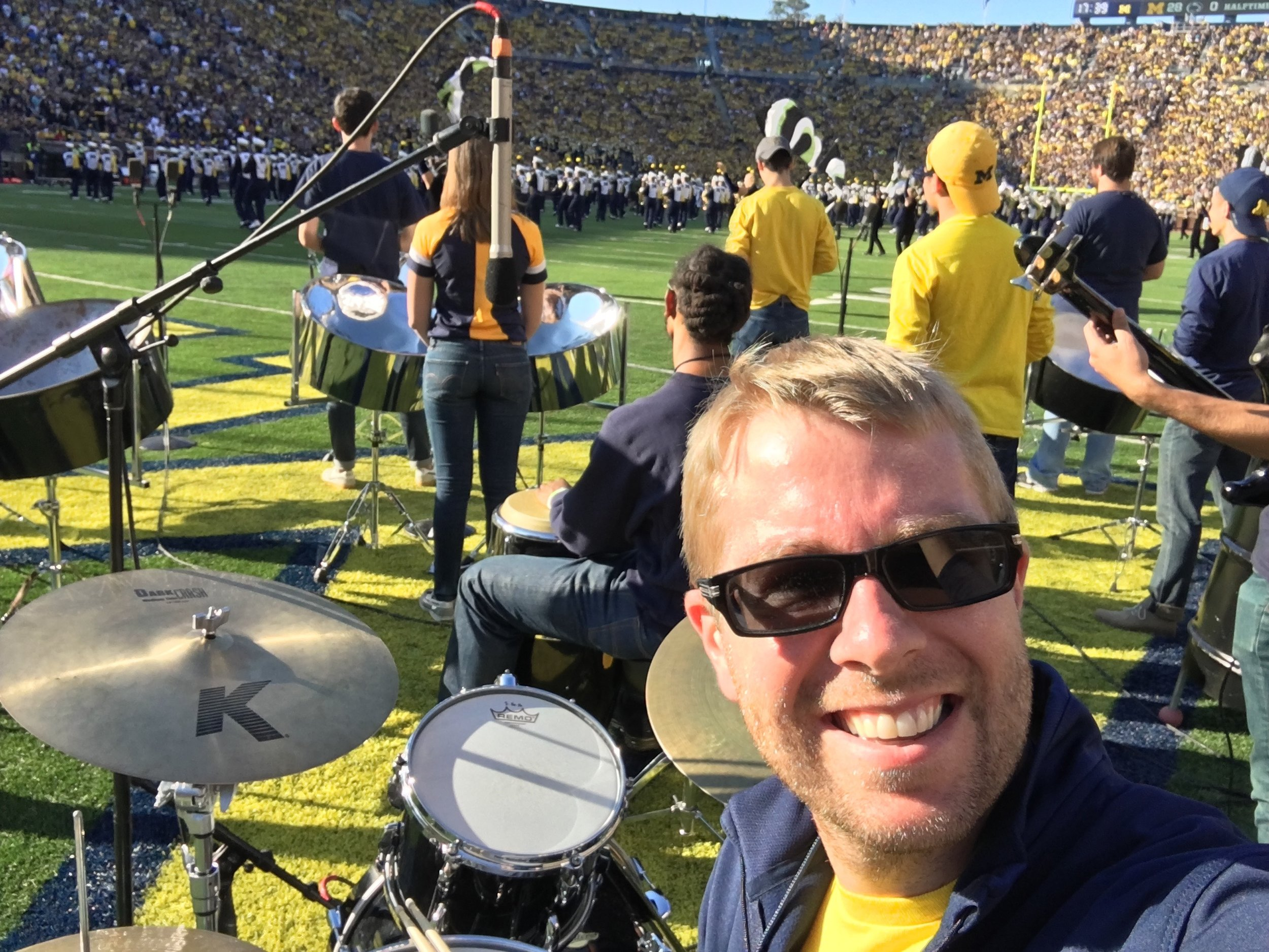 University of Michigan Steelband Performing in the football half-time show for a sold out Big House!