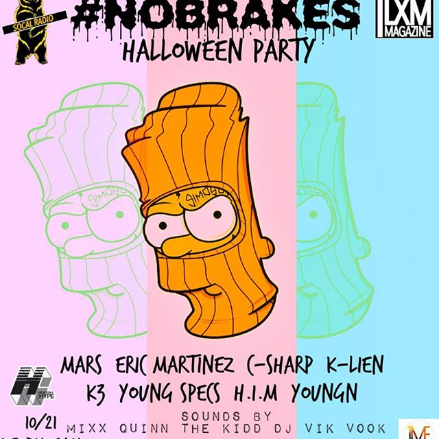 RSVP NOW!!! TEXT OR DM ME ABOUT TIX AND MY GUESTLIST.  Pull up this Saturday for the #NoBrakesMixxer Halloween Party!! Saturday in Anaheim. Alcohol, Medicinal marijuana, music, fun & dancing all in a 420 friendly atmosphere!! Come out and show some support and vibe one time wit us!!! See you there.. s/o @project.orange_ @yl2mxx_ @intuitivepromo & @thesocalradio 🙏🏽🙏🏽🙏🏽 - - - - #halloween #costume #party #turnup #anaheim #california #this #saturday #live #performance #art #artist #showcase #talent #weed #alcohol #420 #friendly #burn #some #great #music #positivevibes #teambeam #kway #drivinghabits2 #indigoent #2deep #keepitlit