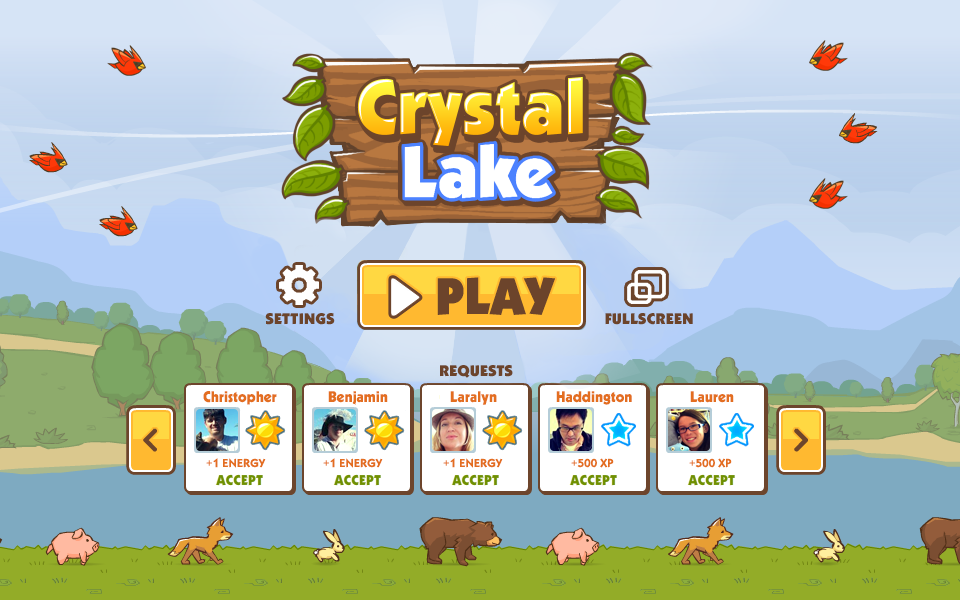 Crystal Lake launch screen: Watch the animals walk by while accepting social gifts from your friends!