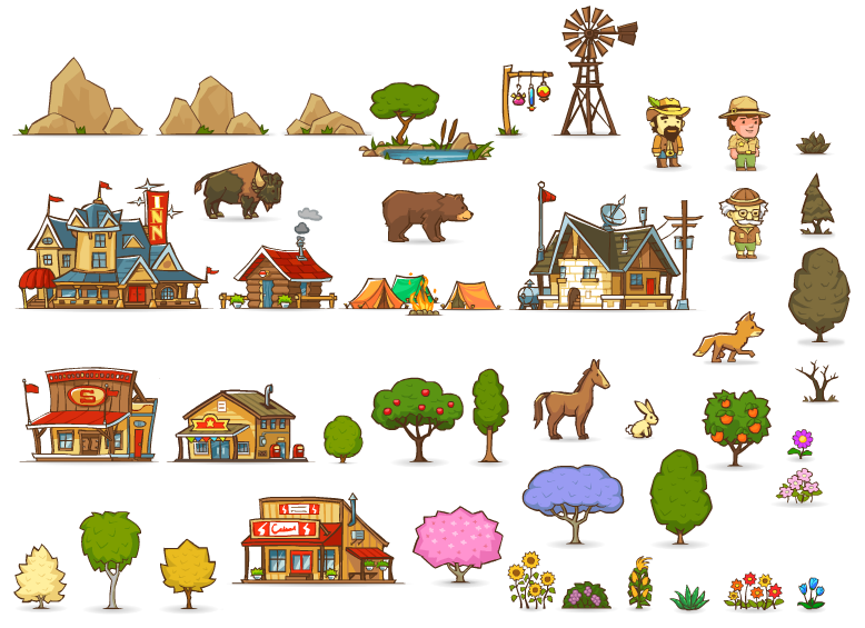 Structures, characters, animals, trees & foliage drawn & animated in Flash.