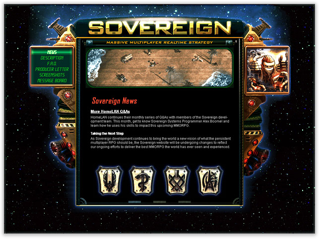 Rendered logo & UI frame created for the Sovereign preview website