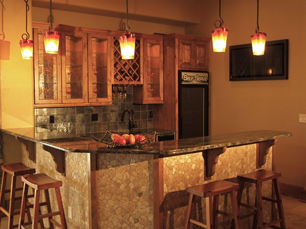 River rock bar face adds some elegance to this amazing home.