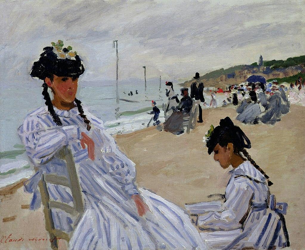 On The Beachat Trouville - by Claude Monet [Public Domain]