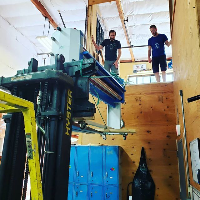 Our new equipment was too big for existing doorways. So we took out a wall and gerry-rigged a forklift solution using our secret weapon: a 77 year old fisherman!  Norman Morris is too cool for social media but the dude can do anything.