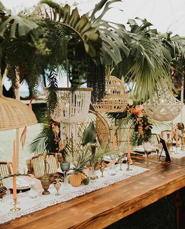 TROPICAL BOHO FOREST Hiding behind all that pretty is our cutie vintage peacock chairs for @sun.soul.style and her hubby